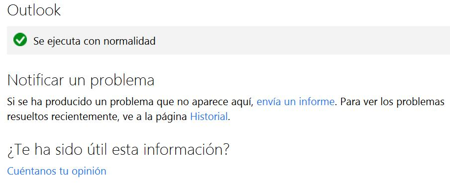 Conocer el estado de Outlook.com