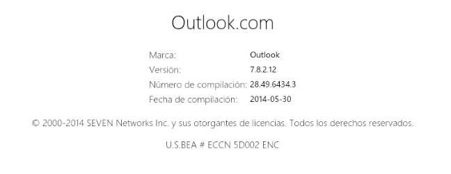 Conocer la versión de Outlook en Android