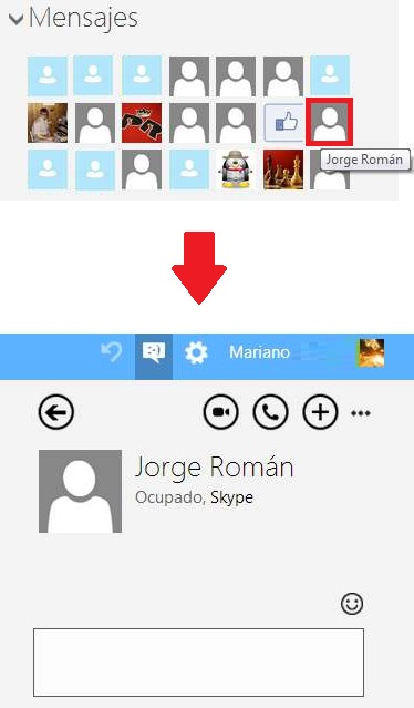 Contactos de chat en Outlook.com