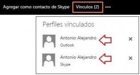 Contactos vinculados de Outlook.com y Skype