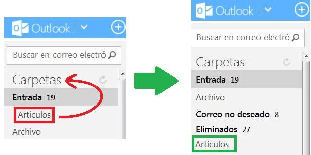 Convertir una subcarpeta en carpeta en Outlook.com