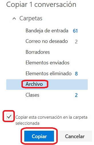 Copiar correos en Outlook