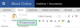 Copiar formato en Word Online