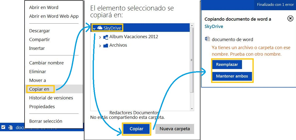 Copiar un archivo en SkyDrive