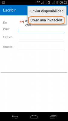 Crear invitaciones en Outlook para Android