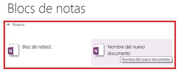 Crear nuevo documento en OneNote Online