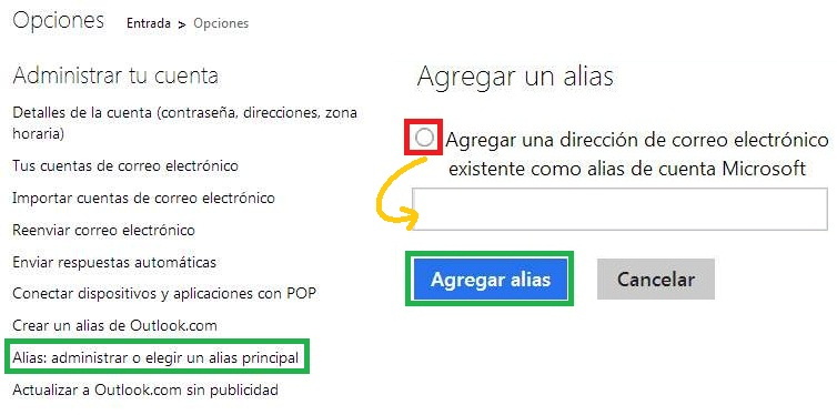 Crear un alias con una casilla de correo en Outlook.com