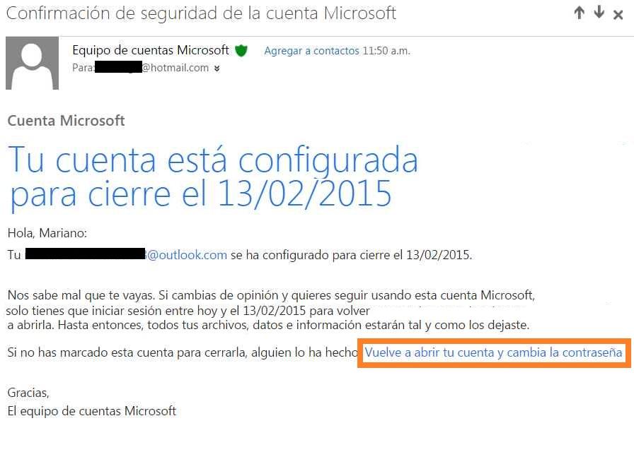 Cuenta configurada para el cierre en Outlook
