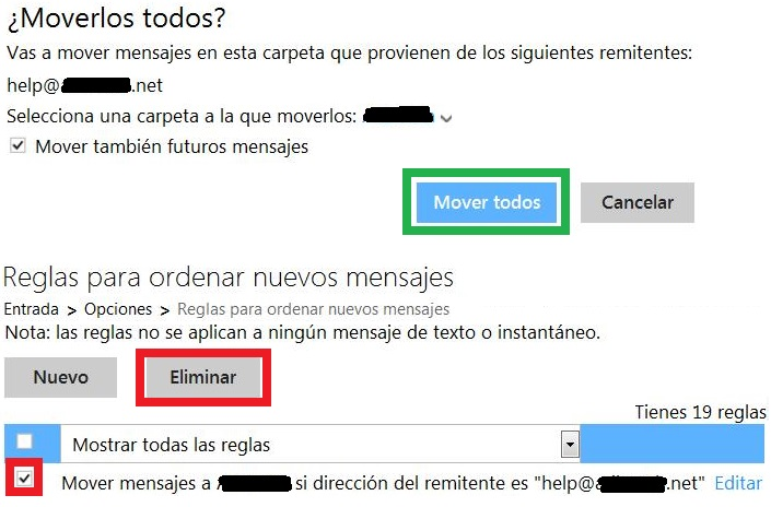 Dejar de mover todos los mensajes de un remitente
