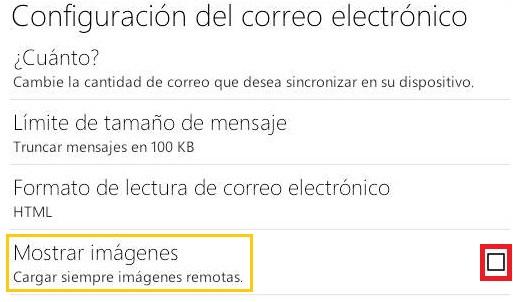Desactivar las imágenes remotas en Outlook.com para Android