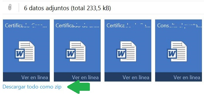 Descargar archivos como ZIP en Outlook.com