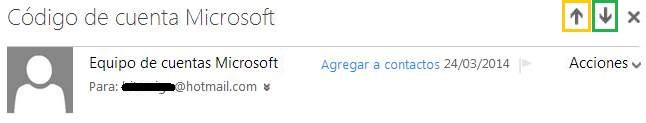 Desplazarse entre los mensajes de Outlook.com