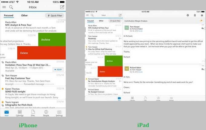 Diferencias entre Outlook para ipad y iphone
