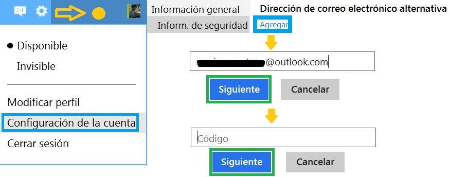 Dirección de correo electrónico alternativa