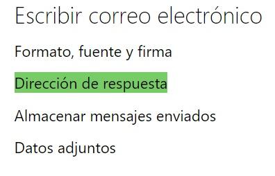 Dirección de respuesta en Outlook.com
