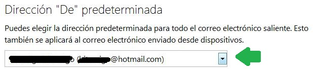 Dirección predeterminada para enviar correos