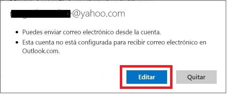 Editar cuenta de correo en Outlook.com