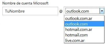 Elegir la dirección de correo electrónico de Outlook.com