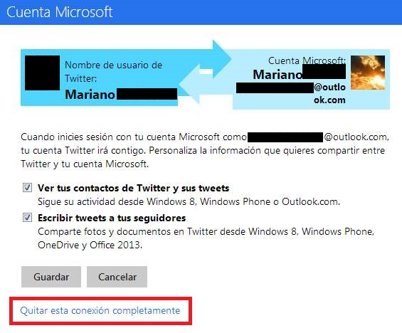 Eliminar Twitter de Outlook.com