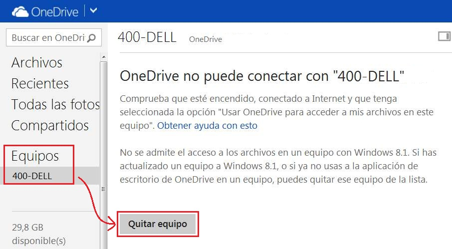 Eliminar equipos de OneDrive