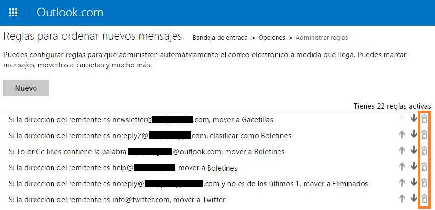 Eliminar reglas en Outlook.com
