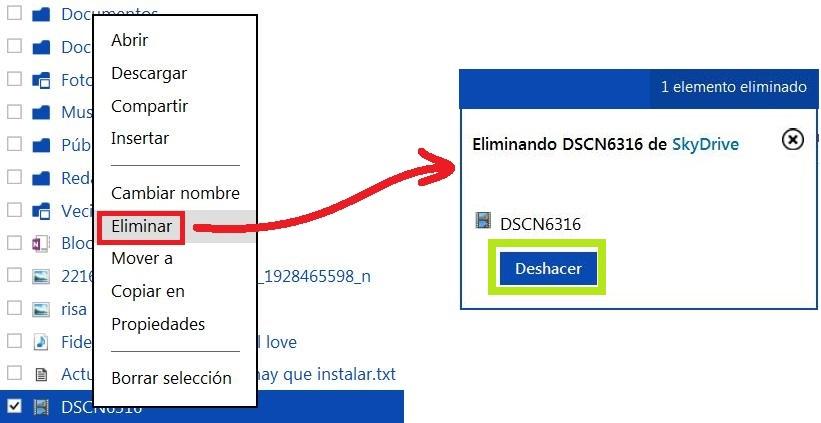 Eliminar un archivo de SkyDrive