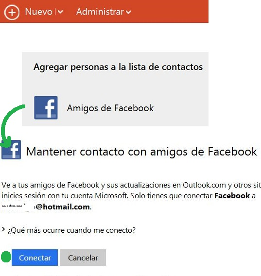 Enlazar Outlook.com con Facebook