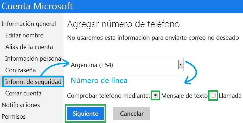 Enlazar una cuenta de Outlook.com al móvil