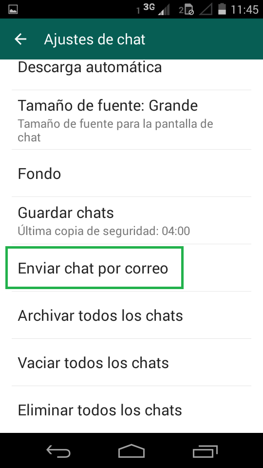 Enviar chat pro correo