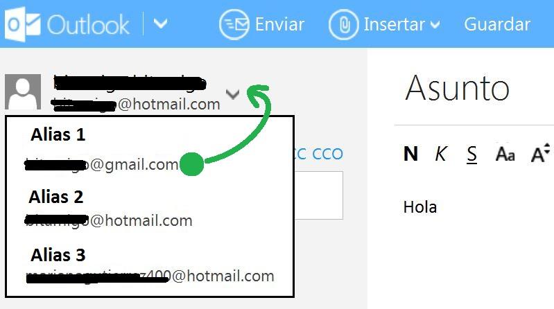Enviar correos utilizando alias en Outlook
