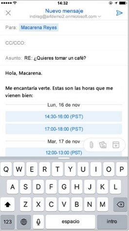 Enviar disponibilidad Outlook