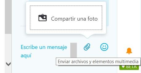 Enviar fotos en Skype para Outlook.com