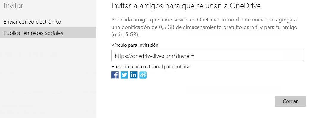 Enviar invitaciones para OneDrive