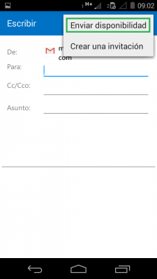 Enviar la disponibilidad en Outlook para Android