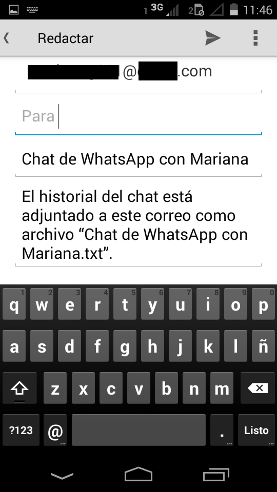 Enviar un chat de WhatsApp por correo a Outlook.com
