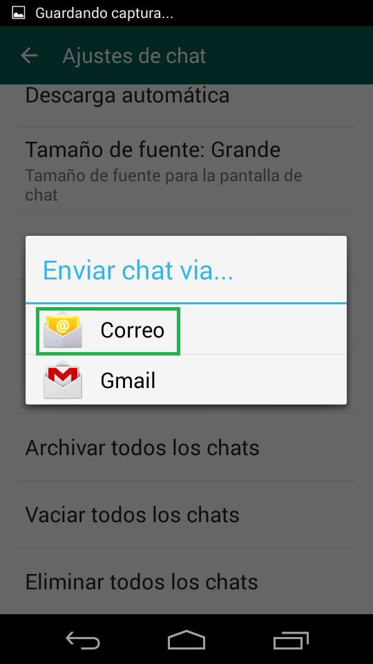 Enviar un chat de WhatsApp por correo