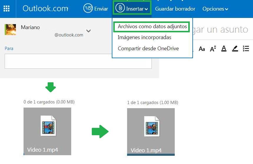 Enviar un vídeo adjunto en Outlook.com