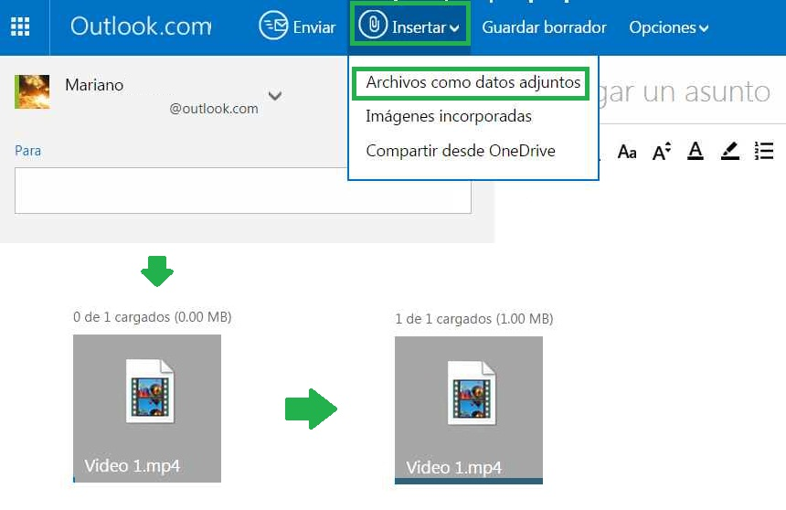 Enviar un vídeo adjunto en Outlook.com
