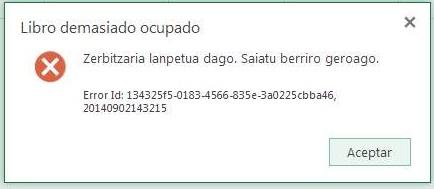 Error de Excel Online
