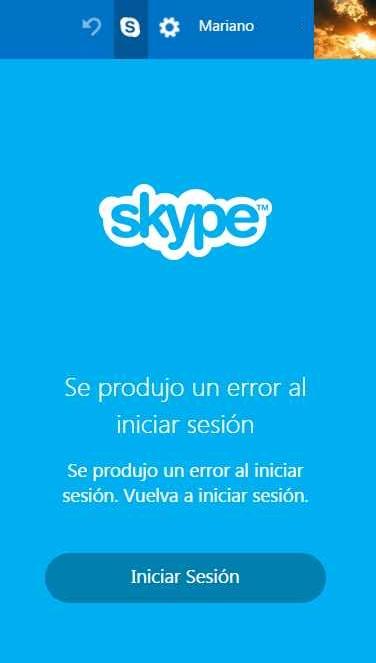 Error para iniciar sesión en Skype para Outlook.com
