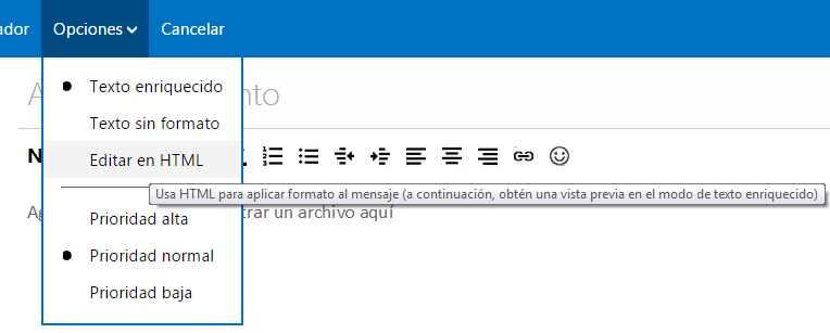Escribir correos en HTML en Outlook.com