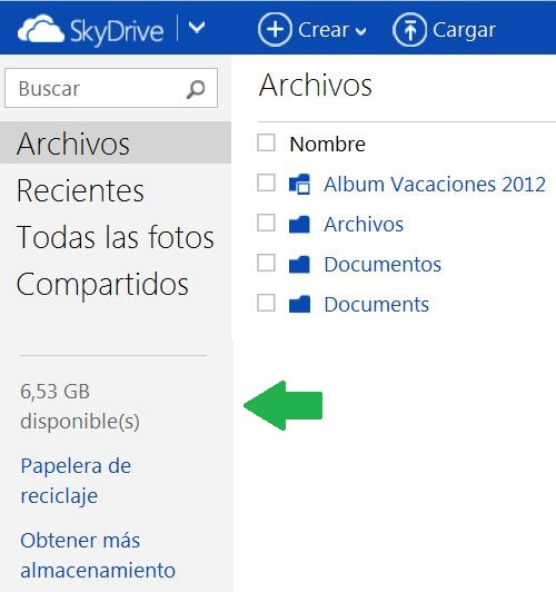 Espacio disponible en SkyDrive