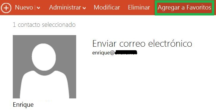 Establecer contactos como favoritos en Outlook.com