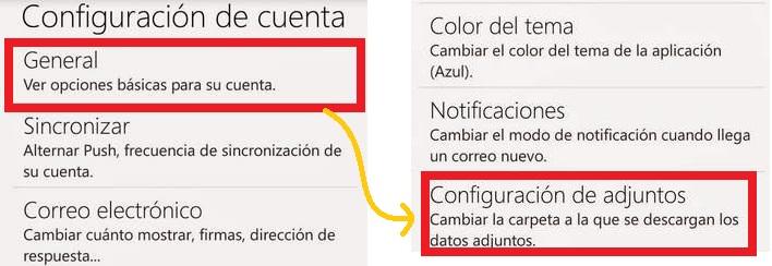 Establecer la carpeta de adjuntos en Outlook para Android