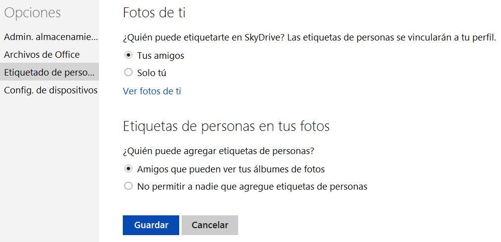 Establecer quien puede etiquetarme en SkyDrive