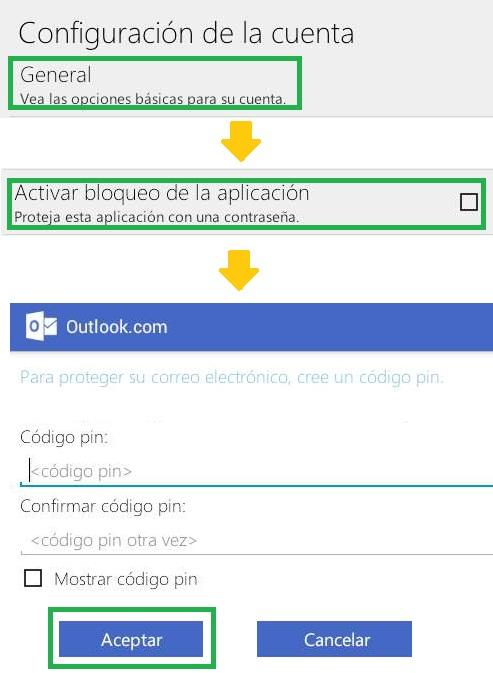 Establecer una contraseña a Outlook.com para Android