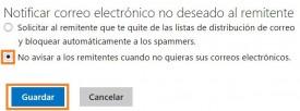 Evitar informar sobre los correos electrónicos no deseados