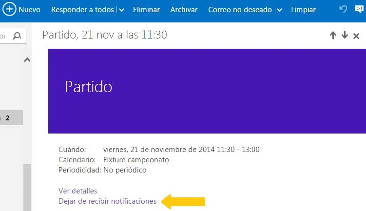 Evitar las notificaciones del calendario de Outlook.com