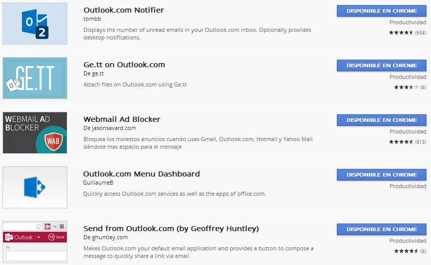Extensiones de Outlook.com en Chrome