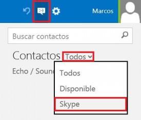 Filtrar contactos de Skype en Outlook.com